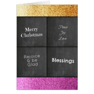 Cartes Or de panneau de craie et Noël rose de parties