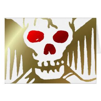 Cartes Or et crâne rouge et os croisés