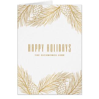 Cartes Or Pinecones et vacances d'aiguilles de pin