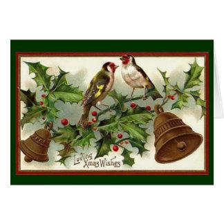 Cartes Or vintage Bells de Noël et oiseaux