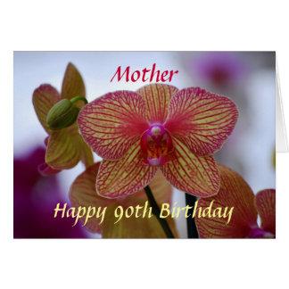 Cartes Orchidée rayée de joyeux quatre-vingt-dixième