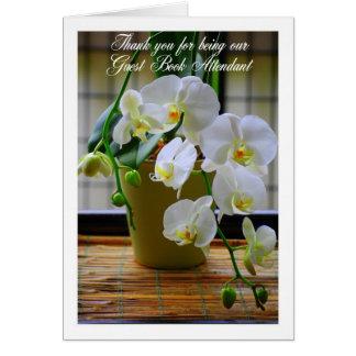 Cartes Orchidées blanches propres de livre d'invité de