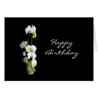 Cartes Orchidées de blanc de joyeux anniversaire