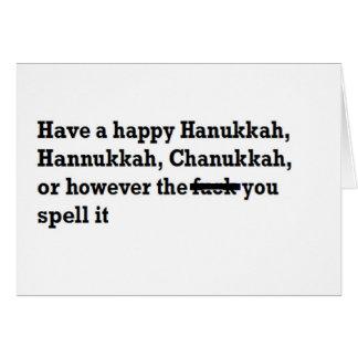 Cartes orthographe heureuse de chanukkah de hanoukka
