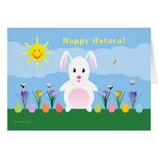 Cartes Ostara heureux - équinoxe vernal - lapin dans le