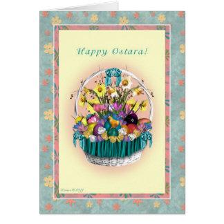Cartes Ostara heureux - équinoxe vernal - panier d'Ostara