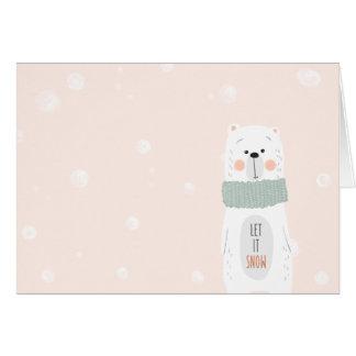 Cartes Ours blanc - laissez-le neiger - hiver/Noël