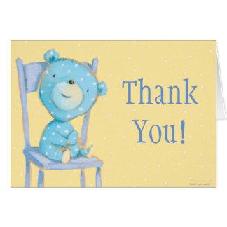 Cartes Ours bleu de calicot souriant sur la chaise