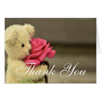 Cartes Ours de nounours avec le Merci rose