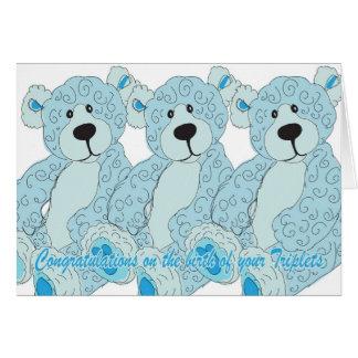 Cartes Ours de nounours de félicitations de triplets dans