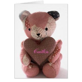 Cartes ours de nounours piqué avec le coeur Caitlin de