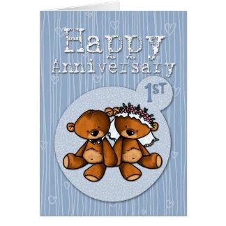 Cartes ours heureux d'anniversaire - 1 an