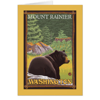 Cartes Ours noir dans la forêt - le mont Rainier,