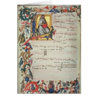 Cartes Page de notation musicale avec historiated