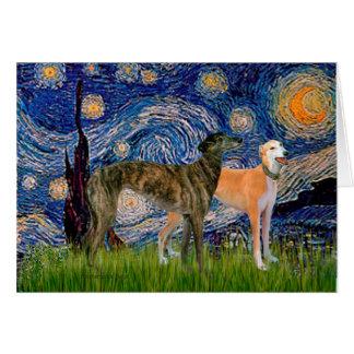 Cartes Paires de lévrier - nuit étoilée