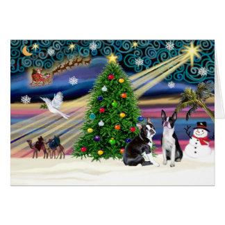 Cartes Paires de Magie-BostonTerrier de Noël