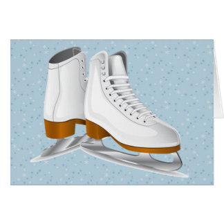 Cartes paires de patins de glace blancs