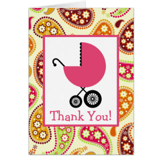 Cartes Paisley et Merci rose de baby shower de chariot