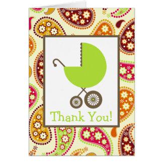 Cartes Paisley et Merci vert de baby shower de chariot