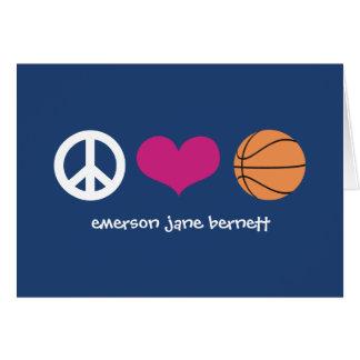 Cartes Paix, amour, bleu de basket-ball