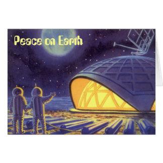 Cartes Paix sur la science-fiction vintage de Noël de la