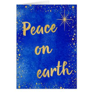 Cartes Paix sur le bleu et l'or de Noël de la terre