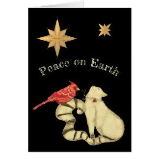 Cartes Paix sur le chat et l'oiseau de Noël de la terre