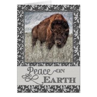 Cartes Paix sur terre - Buffalo américain - bison