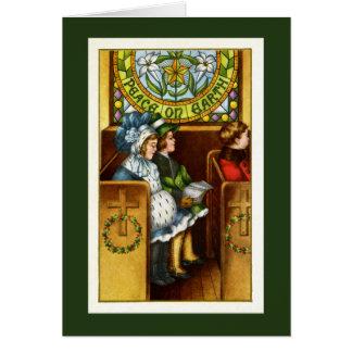 Cartes Paix sur terre, église, enfants, Noël