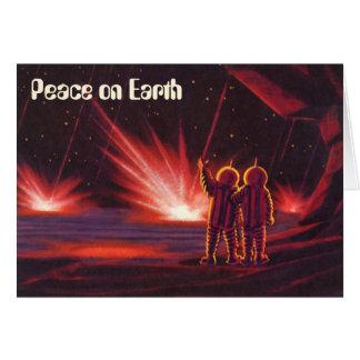 Cartes Paix sur terre, Noël vintage, la science-fiction