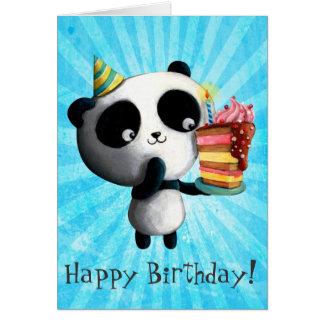 Cartes Panda mignon d'anniversaire avec le gâteau