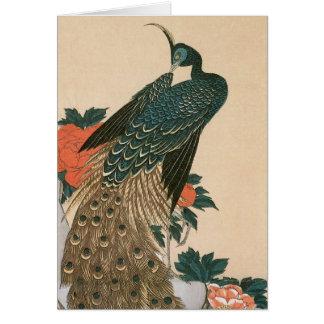 Cartes Paon et pivoines par Hiroshige, art japonais