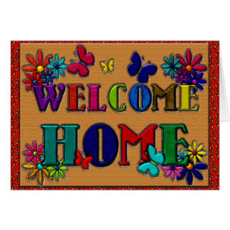Cartes Papillon à la maison bienvenu de signe floral