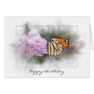Cartes papillon de monarque d'anniversaire sur le fleur
