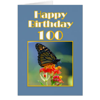 Cartes Papillon de monarque de joyeux anniversaire 100th