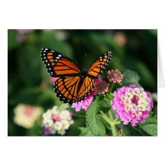 Cartes Papillon de monarque sur la fleur de Lantana