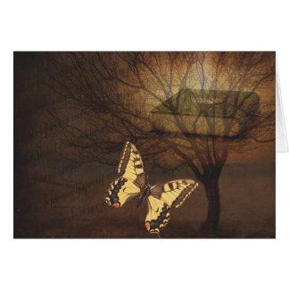 Cartes Papillon de monarque vintage avec l'arbre et le