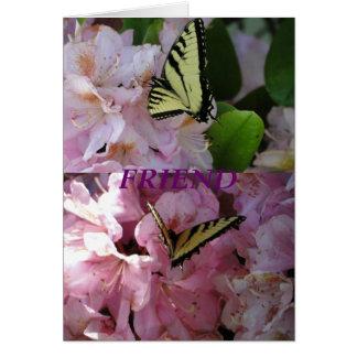 Cartes Papillon et rhododendron jaunes de machaon