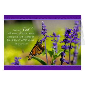 Cartes Papillon, fleurs pourpres