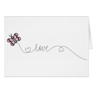 Cartes papillon rose d'amour