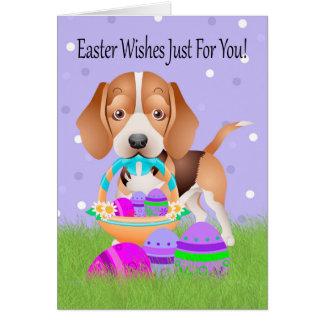 Cartes Pâques avec le petits beagle et oeufs de pâques