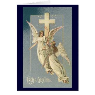 Cartes Pâques vintage, anges victoriens avec une croix