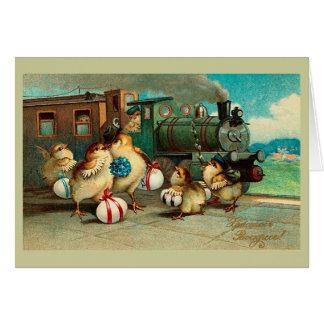 Cartes Pâques vintage russe avec le train