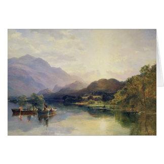 Cartes Partie de pêche au loch Achray, avec une vue de