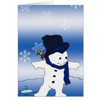 Cartes Patinage de bonhomme de neige