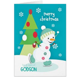 Cartes Patinage de glace de bonhomme de neige de Noël de