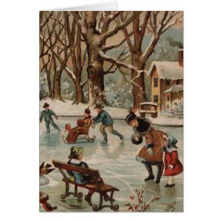 Cartes Patinage de glace vintage de scène de Noël