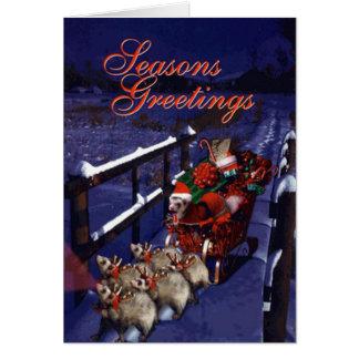 Cartes Pattes de Père Noël et ses amis de renne de furet