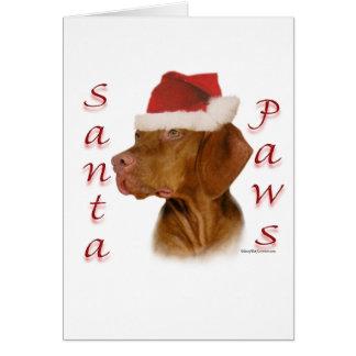 Cartes Pattes de Vizsla Père Noël