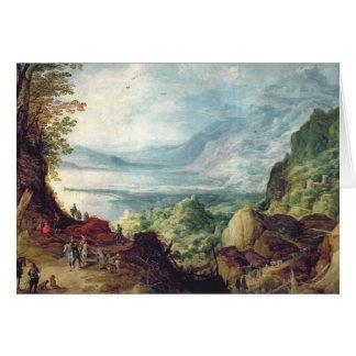 Cartes Paysage avec la mer et les montagnes (huile sur la
